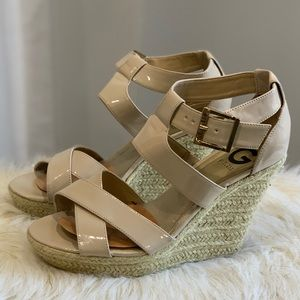G by Guess Describe cream strappy wedge shoe 9M